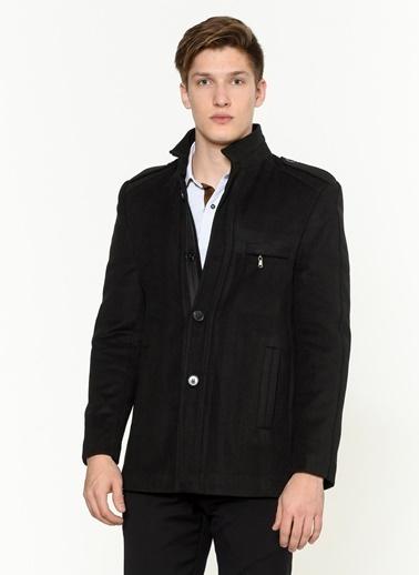 Dewberry Yünlü Ve Polyesterli Düğmeli Cepli Erkek Palto Siyah